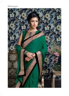 Terrific combination of jari & sequence work on its border makes this brasso saree – A Fantastic Work.
