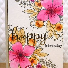 """23 Likes, 2 Comments - Michelle Lupton (@michelle_lupton) on Instagram: """"Birthday card using floral image from #concordand9th coloured with #zigcleancolorrealbrush markers,…"""""""