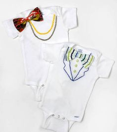 Fancy pants :) Love these onesies with a bowtie & necklace #embroidered