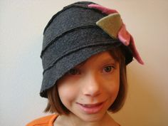 Vintage Flapper Style Charcoal Grey Cloche Hat - Felted Wool Fabric - Child to Adult Size Head - CUSTOM Made to ORDER
