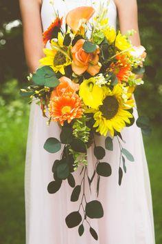 Cascading Bridal Wedding Bouquet Rustic by BlushForBrides on Etsy