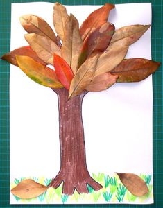 Autumn fall leaves tree trunk craft free preschool template