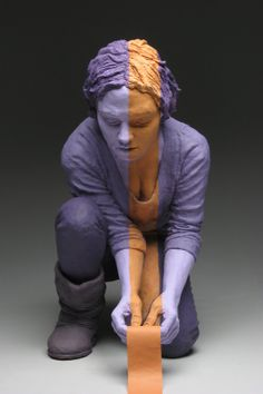 """Lost and Found ~ Earthenware, interior latex, acrylic and painter's tape. Figure is 19"""" x 16"""" x 12"""" by Kevin Rohde."""