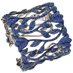 One-of-a-kind Sapphire Bracelet from the 2012 Red Carpet Collection. Set in titanium, 2,417 blue sapphires by Chopard