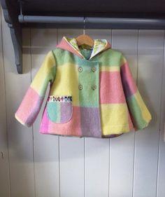 childrens clothing upcycled wool Eskimo jacket by smallforestshop