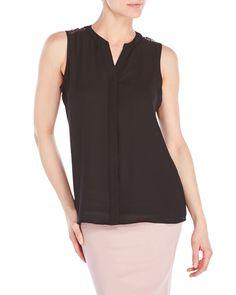 Sioni Lace Yoke Sleeveless Shirt
