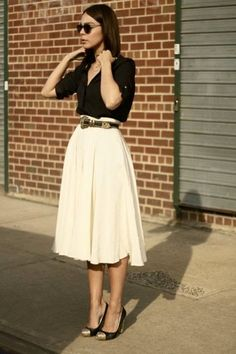 Women's Black Button Down Blouse, Beige Pleated Midi Skirt, Black and Gold Suede Pumps, Dark Brown Leather Belt