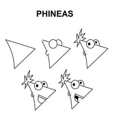 Phineas step-by-step drawing tutorial. - Poke Ball Phineas step-by-step drawing tutorial. Pencil Art Drawings, Doodle Drawings, Art Drawings Sketches, Art Illustrations, Easy Drawing Steps, Step By Step Drawing, Easy Drawing Tutorial, Simpsons Drawings, Cartoon Drawings