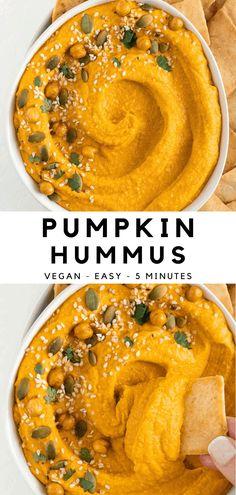 Healthy Vegan Snacks, Vegan Appetizers, Appetizer Recipes, Dinner Healthy, Recipes Dinner, Healthy Hummus Recipe, Pumpkin Hummus, Vegan Pumpkin, Pumpkin Dip