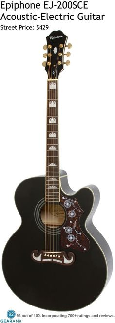 Epiphone EJ-200SCE Acoustic-Electric Guitar. This guitar is based on the J-200 guitar which was first produced by Gibson in 1937 as their premium flat top at that time.  The current Epiphone EJ-200SCE adds a cutaway to the Super Jumbo body and includes Epiphone's eSonic2 pickup system.  For a detailed guide to acoustic guitars see https://www.gearank.com/guides/acoustic-guitars