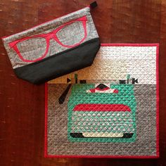 Typewriter Mini Quilt & Geek Glasses Open Wide Zipper Pouch by Three Owls, via Flickr