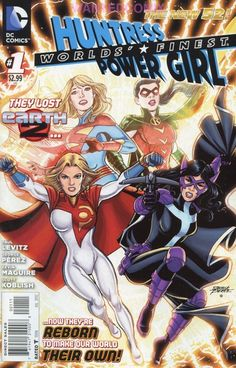 """WORLDS FINEST #1 POWER GIRL HUNTRESS, Earth 2 DC NEW 52.  I love this idea! Bringing the adult daughter of Bruce Wayne and Selina Kylie into the """"regular"""" DC Universe is genius! What will happen if her lineage is found out - and how will everyone react? Lots of great potential! Not loving the new Powergirl suit, but no one can complain about her breasts now. I miss Helena's Cross. I realize Bruce's daughter wouldn't likely be Catholic, but it would be neat to see her have faith despite the…"""