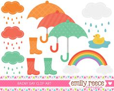 50% Off Sale - Rain Boots Umbrella Clouds Rubber Duck Cute Clip Art - Commercial Use - Scrapbooking Invitations Cards - Instant Download on Etsy, $2.00