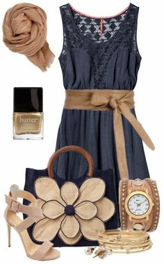 Navy & Tan Outfit this would be a cute work outfit if you had to dress up