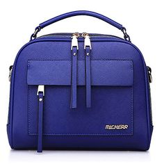 Boardroom Top Handle Satchell with Dual Zipper fastening ($28) ❤ liked on Polyvore featuring bags, handbags, azure, blue bag, pocket purse, strap purse, zipper purse and zipper bag