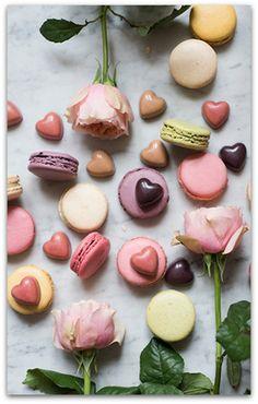 Laduree macarons, Pierre Marcolini chocolates and market roses, Paris, France