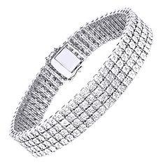 MENS 4 ROW WHITE GOLD FINISH REAL DIAMOND BRACELET TENNIS LINK BANGLE 8.5 INCH