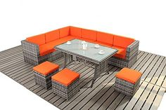 Luxury Patio or Conservatory Rattan Sofa Set with table in Grey Rattan. Perfect for Outdoors or the Conservatory ...