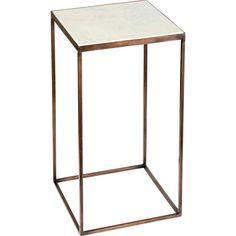 Table with marble top Metallbord med hvit marmorplate. H: 30 cm B: 55 cm D: 30 cm