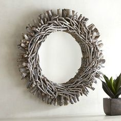 blue washed driftwood mirror