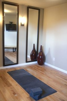 Yoga Room Design, Pictures, Remodel, Decor And Ideas   Mirrors Against  Brick Wall