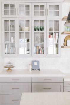Cabinet Color – Sherwin Williams Mindful Gray, Countertop – Caesarstone Organic White / Floors