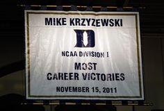 Coack K - Most Career Victories banner in Cameron Indoor Stadium (Duke University)