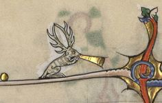 Stag blowing a horn (Breviary Renaud de Bar, Verdun, MS. 107