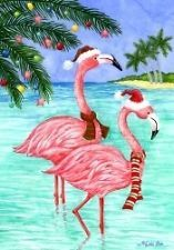 PINK FLAMINGOS CHRISTMAS Coastal TROPICAL Beach Holiday Custom Decor House Flag