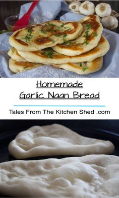 Homemade Garlic Naan Bread - Tales From The Kitchen Shed Savory Bread Recipe, Best Bread Recipe, Quick Bread Recipes, Great Recipes, Favorite Recipes, Brunch Recipes, Breakfast Recipes, Bakery Recipes, Pizza Shapes