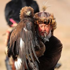Kazakh people living in Mongolia near Bayan-Olgii use golden eagles to hunt wild sheep, foxes andwolves, and get together once a year in October to show off and compete. (I think the thing that the falconer is holding in his mouth is a little piece of carved wood that is normally tied under the eagle's beak to keep her from screaming when she is sneaking up on prey. Probably hard to find free hands to carry all your random little hunting thingies when carrying around a giant eagle.) ...