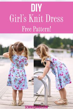 Suncadia Dress Free Pattern for Girls - Free Girl's Knit Dress Pattern / Sew an adorable toddler sized play dress for your toddler with t - Toddler Sewing Patterns, Baby Girl Dress Patterns, Baby Clothes Patterns, Dress Sewing Patterns, Skirt Patterns, Coat Patterns, Blouse Patterns, Fall Patterns, Girls Knitted Dress