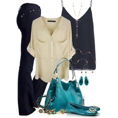 """Taupe and Teal"" by ohmeejean on Polyvore"