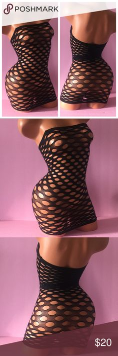 Sexy Black Fishnet Lingerie Tube Dress NEW New in package Sexy Black Fishnet Lingerie Tube Dress. Large holes and stretchy material that hugs body. Item is brand new in package as pictured. One size item, no tags on dress but sealed in package. Best fits sizes XS-Medium. Intimates & Sleepwear