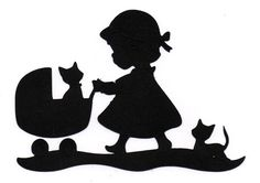 NEW design girl with kitten stroller Silhouette die cut for scrap booking or…