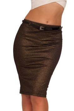 Trendy Shimmery Belted Pencil Midi Fashion Stretch Skirt