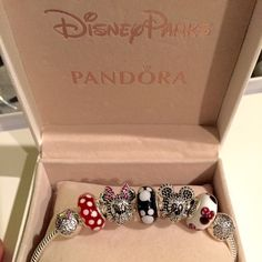 """Minnie Mickey Pandora Disney Limited Edition Set Authentic Pandora Disney  Limited Edition Sparkling Mickey & Minnie Portrait set, Two Disney Clips, and 3 Muranos= 7 Pandora Charms Total:   -Sparkling Mickey Portrait, LE($90) -Sparkling Minnie Portrait, LE ($90) -1 Pandora Classic Minnie Murano ($50) -1 Pandora """"Minnie's Signature Look"""" Murano ($50) -1 Pandora Mickey Murano ($50)  1 Minnie Mouse Clip ($70) 1 Mickey Mouse Clip ($70) = Originally retails for $470 + tax in stores.  Comes with…"""