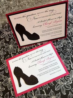 Rose letterpress bridal shower invitations from bella figura shoe themed bridal shower invite with fashionista white micah black glitter stock and diecut filmwisefo