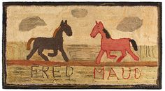 Antique Hooked Rug, Horses, Fred and Maud, Circa 1900