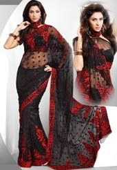 Sable Black Net Saree with Blouse
