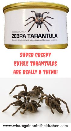 It's true, these super creepy edible tarantulas are really a thing! Unique Recipes, Creepy, Place Card Holders, Food, Meal, Eten, Meals