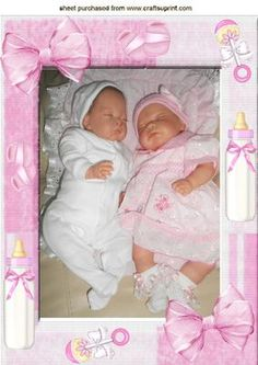 REBORN BABY GIRLS IN FRAME WITH BOWS A4 on Craftsuprint - Add To Basket!