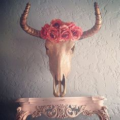 MultiColor Gold Leafed Cow Skull with Rose Flower by SkullsbyBriRo, $375.00