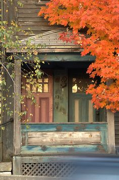 Old wood house in fall colors