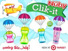 It's official! Nûby is launching a NEW range of Clik-it™ cups in @Target stores. The Clik-it™ range will be available in stores on July 29th! The Clik-it™ range of Nûby cups features the NEW Clik-it™ system. Mom hears the 'Click' and knows it's locked! For more info visit us on at www.facebook.com/NubyUSA #nubyclikit