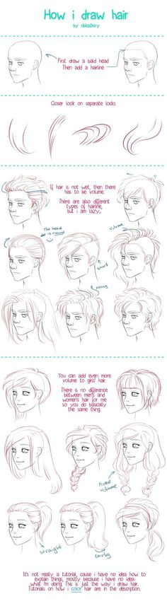 How to Draw Hair tutorial by =ribkaDory on deviantART: by drawing the ends and hairs at hairline close together you can create shading and a sense of form.: tutorial How I Draw Hair by ribkaDory on DeviantArt Drawing Lessons, Drawing Techniques, Drawing Tips, Drawing Reference, Drawing Sketches, Painting & Drawing, Sketching, Drawing Ideas, Male Drawing