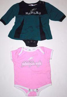 NFL Philadelphia Eagles 0-3 Months Baby Girl Cheerleader Dress Bodysuit Lot of 2 #NFLTeamApparel #PhiladelphiaEagles #NFL #Football #Cheerleader #Baby #Infant #Girl #Apparel #Dress #Style #Clothing