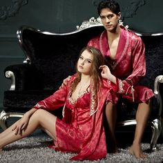 His   Hers Matching Couples Luxury Silk Sleepwear Robe Sets for ... Couple  Pajamas b1d3939bc