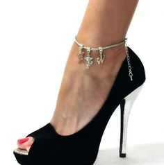 Hotwife Silver Twist Anklet with Vixen Fox Charm - MFM, Threesome, Swinger, Hot Wife, QOS, Queen of Ankle Jewelry, Ankle Bracelets, Vixen Fox, Wonder Woman Superhero, Queen Of Spades, Tattoo Bracelet, Ankle Chain, Gorgeous Heels, Hot High Heels