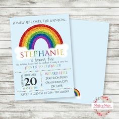 Rainbow Birthday Invitation - Rainbow Party Invitation - Rainbow Birthday Supplies - Printable - Digital File - PRINT THEM YOURSELF! by PicklesAndPosies on Etsy
